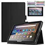 EpicGadget Case for Amazon Fire HD 8 / Fire HD 8 Plus (10th Generation, 2020 Released) - Lightweight Auto Wake/Sleep Folio Stand Cover PU Leather Case + 1 Screen Protector and 1 Stylus (Black)