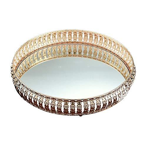 PETSOLA Bandeja Cosmética Cristalina Redonda Del Maquillaje, Bandeja Decorativa Reflejada Casera de La Joyería de La Vanidad - 26cm