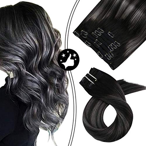 Moresoo Clip in Human Hair Extensions 16 Inch Balayage Black Hair Extensions 1B to Silver Grey Clip in Real Hair Double Weft 100g/pack Full Head Set Black to Grey Silver Balayage Clip ins