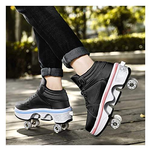 HANHJ Patines En Línea Luces LED Four Roller Patines Hombres Mujeres Zapatos con Ruedas Deformación Ajustables Skates Zapatillas De Rodillo Zapatillas Deporte,Black-42