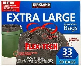 Kirkland Signature Drawstring Trash Bags - 33 Gallon - Xl Size - 90 Count Pack