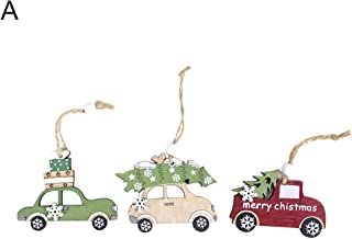 ExhilaraZ Merry Christmas 3Pcs Festival Door Wall Hanging Wooden Xmas Tree Cabin Elk Car Ornament Home Mall Window Decor