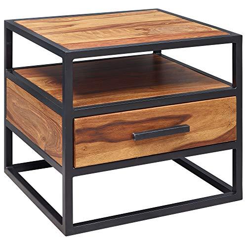 FineBuy Nachtkonsole FB51418 Sheesham Holz 50 x 45 x 45 cm Metall schwarz Nachttisch | Nachtkästchen mit Schublade Industrial Design | Industrie Nachtkommode Bett | Nachtschrank Nachtkasten braun