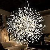 NOXARTE Firework Chandelier Crystal Chrome Dandelion Pendant Light Modern Ceiling Lighting Fixture for Living Room Dining Room Dia 19.6 Inch