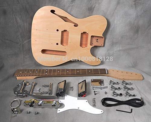 Semi Hueco De La Guitarra Eléctrica De Cuerpo DIY Kit Constructor De Proyectos De Caoba Sin Terminar New Single Cutaway SYXMSM ( Color : Natural , Size : 39 Inches )