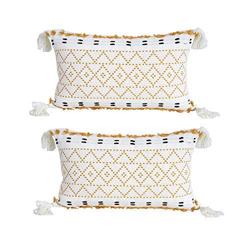 Lot de 2 Housse de Coussin Moderne Tissée en Coton Taie d'oreiller à Motif Géométrique Décoration pour Salon Canapé Chambre Maison 30 x 50 cm, Jaune et Blanc