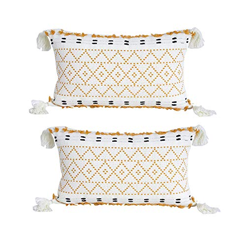 VOFANK Juego de 2 fundas de cojín decorativas bohemias con borlas, de algodón, para sofá, dormitorio, salón (amarillo y blanco, 30 x 50 cm)
