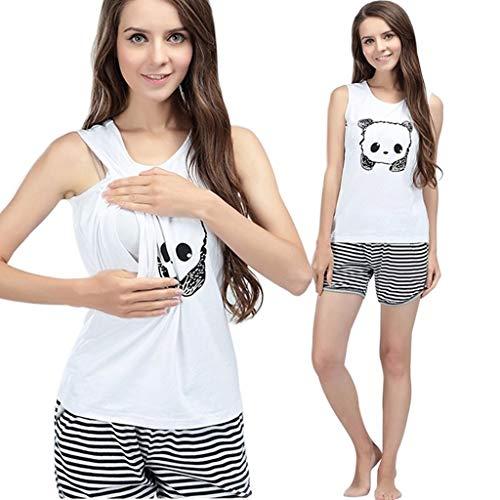 Ucoolcc Schwangere Mutter Mutter ärmellose Cartoon Panda Print Stillweste + gestreifte Shorts Anzug - Damen Nachthemd -Mode für Schwangere - Schlafanzug Damen kurz