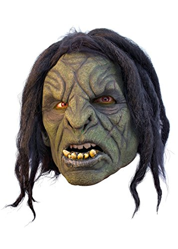 Schaurige Maske Ork-Maske aus Latex grün, mit Haaren Orkbestie Fratze Herrenmaske Halloween LARP Cosplay Faschingskostüm