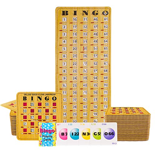 MR CHIPS Jam-Proof Bingo Cards with Sliding Windows, 50 Deluxe Woodgrain Bingo Cards, 75 Bingo Calling Cards, 1 Bingo Master Board