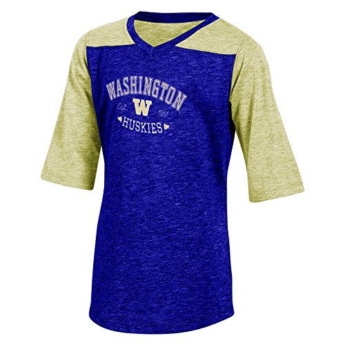 NCAA Texas Tunika mit halblangen Ärmeln, Mädchen, NCAA Champion Youth Girl's Cheer V-Neck Tunic T-Shirt, Lila Heather, XL-14/16