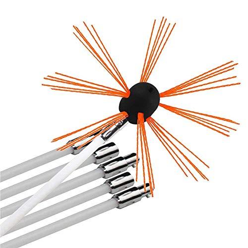 Cepillo de Chimenea Taladro eléctrico Kits de herramientas de limpieza de barrido Limpiador giratorio con varillas flexibles de nylon Seguro en todas las chimeneas de chimeneas y estufas de leña,12M