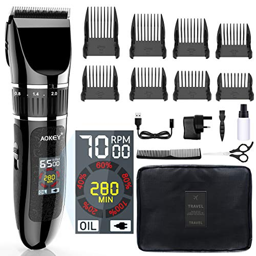 AOKEY Haarschneidemaschine - Haarschneider Profi, Herren Haartrimmer,LCD-Farbdisplay, 8 Aufsteckkämme, Präzision Längeneinstellung, Wiederaufladbar, Geeignet für Körper, Familie