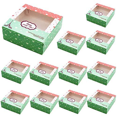 YUIP Cupcake Geschenkbox,Tortenkarton,Konditorkarton,Cupcake Patisserie-Schachtel Geschenkboxen für 4 Cupcakes,Bio-Box,Cupcake Muffin Box,Muffins oder Gebäck,Keks Verpackung mit Sichtfenster,20 Stück