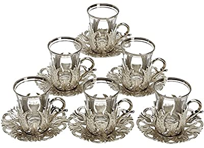 6 X CopperBull 2018 Turkish Tea Glasses Set with Saucers Holders & Spoons (Silver)