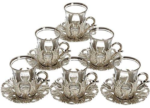 CopperBull 2018 Türkische Teegläser mit Untertassen, Haltern und Löffeln (Silber), 6 Stück