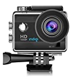Indigi ActionCAM-BK09 HD Recording WiFi Enabled, Accessories Included, 4K Sports & Action Video Camera, 1.5', Black