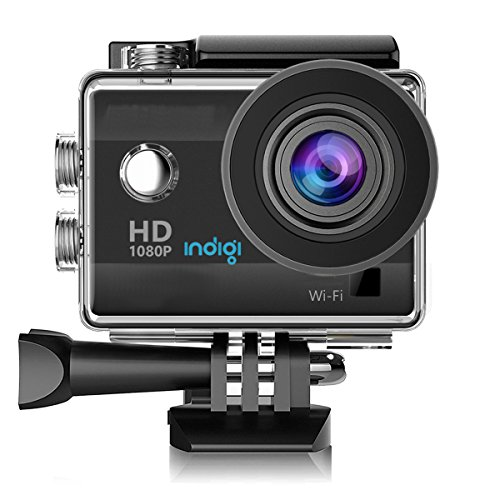 indigi New 4K & 1080p HD WiFi Sports Camera Action Cam - WiFi sync iPhone & Android Remote Recording + Waterproof Case + Mounts