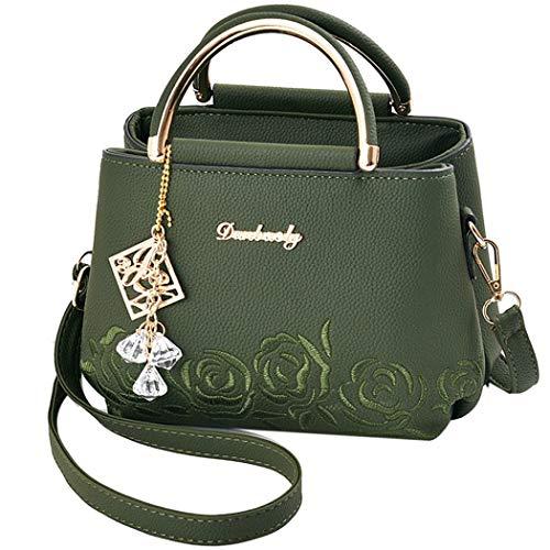 Fanspack Women's Handbags Embroidery PU Leather Top Handle Satchel Bag Crossbody Shoulder Bag with Pendant