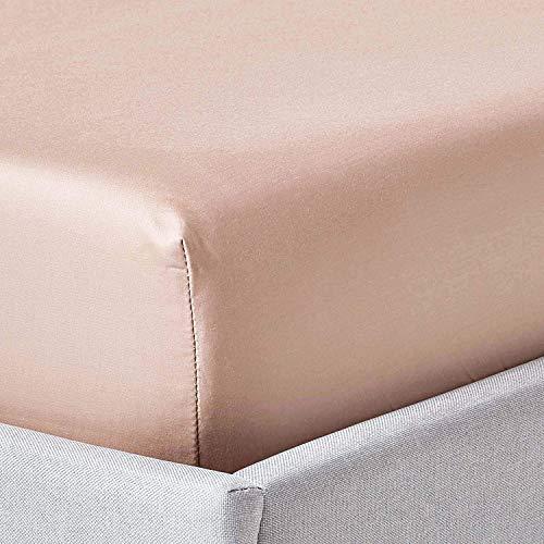 HOMESCAPES - Drap Housse Beige Taupe - 100% Coton 1000 Fils - 160 x 200 cm