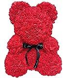 MINASAN Rose Bär Spielzeug, Roter Rosen Bärn Blumen Teddy Bär Geformt Künstliche Blumen Puppen für Valentinstag Hochzeit Geburtstag Geburtstagsgeschenke (Rot, 40cm)
