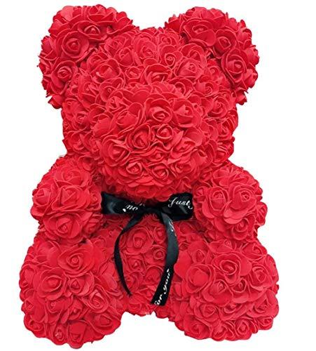 WangsCanis Orsacchiotto di Rose Regalo per Fidanzata Moglie Amore con Rose Artificiali Orso Floreale per San Valentin Anniversario Compleanno (A Rosso, 25cm)