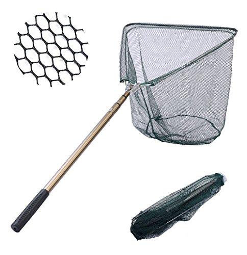 Romote Fischernetz Fisch Kescher, Faltbare zusammenklappbare Teleskopstange Griff, Metallmaterialien Gelenke, sichere Fang von Fischen oder Loslassen - 65