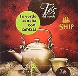 Ship - Té Verde Sencha con Cerezas - Infusión con 15 Pirámides - Contiene Propiedades Digestivas - Sabor Dulce - Infusión Digestiva - Aporta Bienestar y Tranquilidad