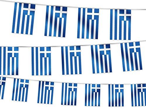Fahnenkette Griechenland Wimpelkette Gartendeko - Länge: 4,5 m Flaggenkette für Garten, Bars & Cafés - Fanartikel W-GR