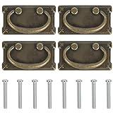 4 tiradores vintage para muebles y cajones de estilo concha, de latón, de estilo antiguo, de hierro, de bronce, para armarios y cajones