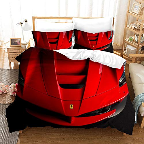 ZHYY Boys Bedding Set Queen Quilt Covers Kids Children Bedding Sets 3D Car Racing Single Twin Bed Set (Color : #1, Size : UK Single-140×210cm)