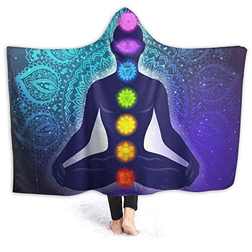 DPQZ Decke mit Kapuze, 7 Chakren, Zen, Yoga, Meditation, weich, bequem, Flanell, Fleece, Bett, leicht, Plüsch-Decken...