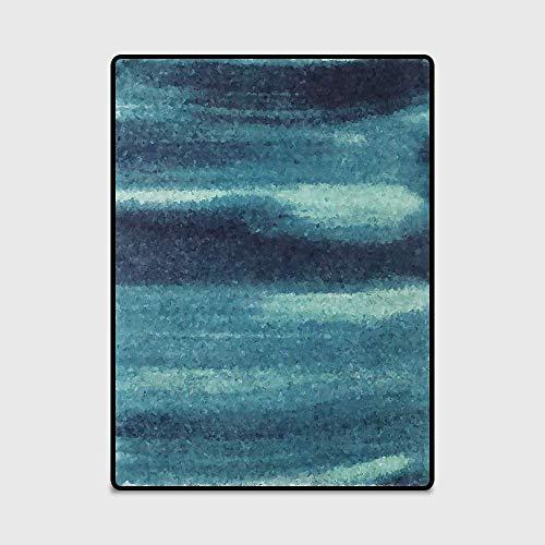 Zenhe fácil de limpiar Manta de área de suave cubierta Mat Alfombra moderna minimalismo del arte abstracto de la tinta azul puerta del dormitorio sala de estar antideslizante de la alfombra de la este