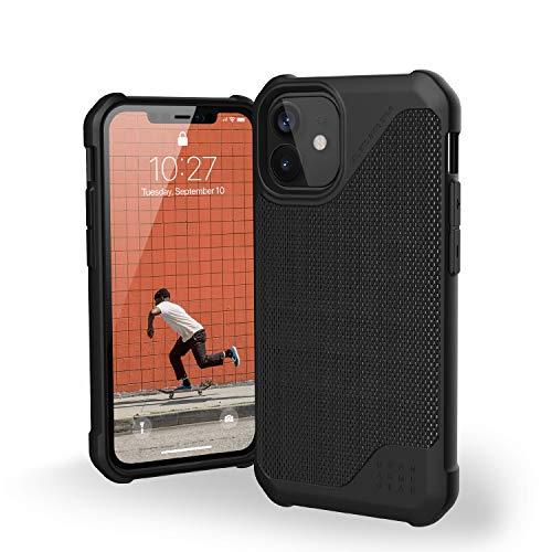"""Urban Armor Gear Metropolis LT Funda Apple iPhone 12 Mini (5,4"""") [Protección anticaída estándar Militar, Compatible Carga inalámbrica (Qi), Funda Resistente] FIBR ARMR Negro"""