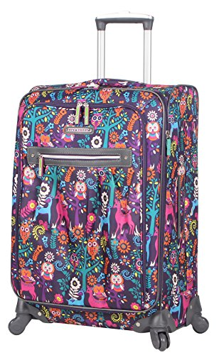 Lily Bloom Midsize 24' Expandable Design Pattern Luggage With Spinner Wheels For Woman (24in, Wildwoods)