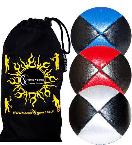 3X Balles de Jonglage Thud en Cuir Super Durable (Leather) Pro Jonglerie Beanbag Jonglage Balles + Sac de Voyage. (Noir-Blanc/Rouge/Bleu)