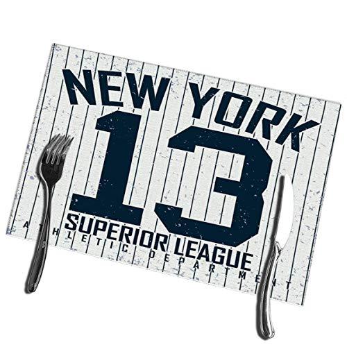 6pcs Esstisch Tischsets Vintage Grange Stempel New York Athletic Emblem Hitzebeständige Tischsets