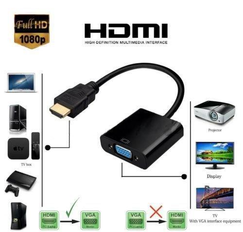 TechRise - Adaptador HDMI a VGA de alta velocidad, 1080P, HDTV, HDMI a VGA, macho a hembra, con cable de carga USB y audio Mirco