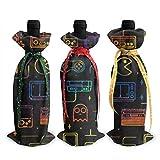 Juego de videojuegos Patrón Impreso Botella de vino Cubierta de decoración Bolsas de la cubierta, Para la degustación de vinos de Navidad Suministros para fiestas