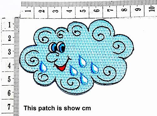 New Blue Rain Cloud Face Smile Float Sky Cartoon Chidren Kids Embroidren Iron Patch/Logo Sew On Patc...