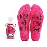 Mom off Duty, Ask your Dad Funny Socks - Cool Pink Fuzzy Novelty Cupcake Packaging for Her - Gift...