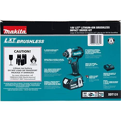 Makita XDT131 18V LXT Lithium-Ion Brushless Cordless Impact Driver Kit (3.0Ah)