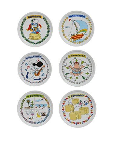Excelsa Mordillo Set 6 Piatti Pizza, Diametro 31 cm, Porcellana, Multicolore