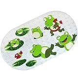 LHY BATHLEADER Rutschfester Badvorleger, Frosch-Cartoon-Muster Badewannenmatte Baby, Badematte Mit Saugnäpfen Antibakteriell Duschmatte Für Oval (39×69cm)