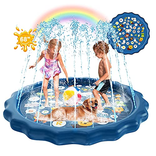 Splash Pad for Kids, 3 in 1 Outdoor Water Sprinkler Toy with Early Learning, 68'' Fall-Proof Swimming Pool for Baby and Toddler, Perfect Summer Toys and Gifts for Boys and Girls Under 15 Years Old