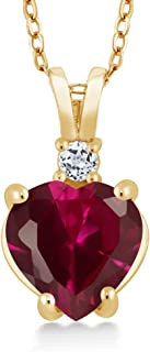 14K Yellow Gold Heart Shape Red Created Ruby and White Topaz Women's Pendant Necklace, 2.27 Cttw with 18 Inch Chain