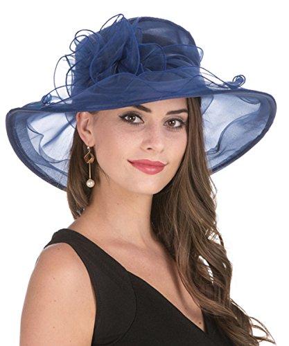 LUCKY Leaf Sombrero Encantador de la Iglesia de Organza de la Mujer Sombrero Borde Ancho Floral Encantador para Fiesta de Tarde(1-Azul Marino)