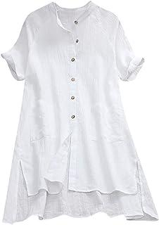 EUZeo Otoño Camiseta para Mujer Cuello V Blusas Camisa tee de Verano Sobredimensionado Manga Larga Tops sólido Moda Shirt Casuales Ropa Invierno Fiesta Algodón Lino Top
