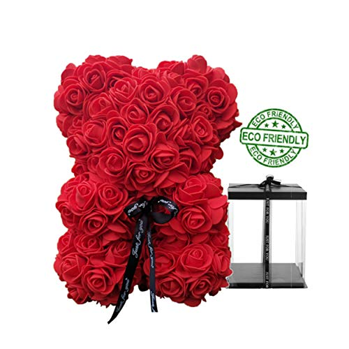 Speverdr 10 Inch Rose Bear with Box Artificial Flowers 10' Flower Teddy Bear Gift for Women, Birthday, Valentine's Day, Mother's Day, Anniversary-Red