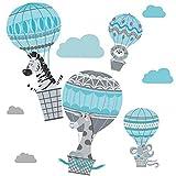 greenluup Wandsticker Wandtattoo Kinderzimmer Mädchen Jungen Ballons Heißluftballon Hellblau Grau Tiere Wolken Safari Dschungel Wand Deko Babyzimmer Baby (C4)